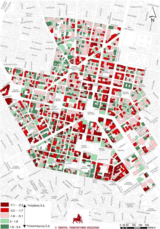 Χάρτης 2: Εκμετάλλευση Συντελεστή Δόμησης (Πηγές στοιχείων: ιδία έρευνα δομημένων επιφανειών Q3 2013, στοιχεία ιδιοκτησιών από την Κτηματολόγιο Α.Ε., Γενικό Πολεοδομικό Σχέδιο Δ. Αθηναίων. Ιδία επεξεργασία στοιχείων).