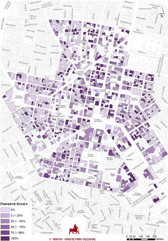 Χάρτης 4: Κενά ισόγεια καταστήματα (Πηγή στοιχείων: ιδία έρευνα και επεξεργασία Q3 2013).