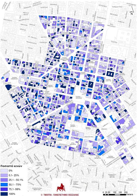Χάρτης 5: Κενές ιδιοκτησίες σε ορόφους (Πηγή στοιχείων: ιδία έρευνα και επεξεργασία Q3 2013).