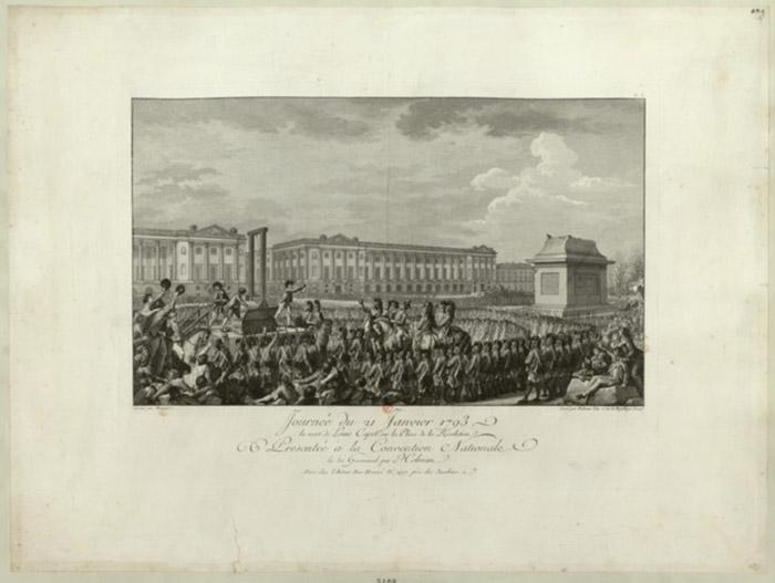 Εικόνα 5: Η θανάτωση του Λουδοβίκου XVI στην πλατεία της επανάστασης (Πηγή: Bibliotheque Nationale de France)
