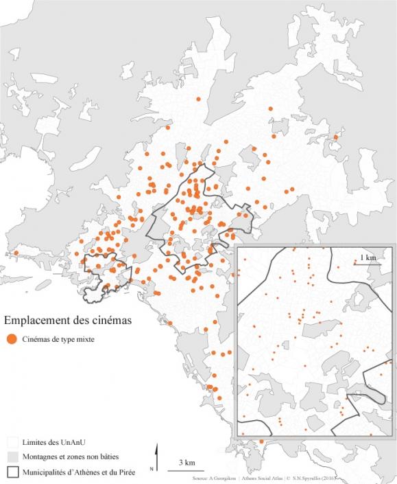 Carte 4 : Emplacement des salles de cinéma de type mixte dans la région du Grand-Athènes entre 1950 et 2014