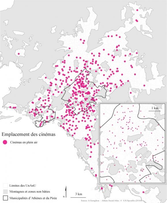 Carte 5 : Emplacement des cinémas en plein air et des cinémas de type mixte dans la région du Grand-Athènes entre 1950 et 2014