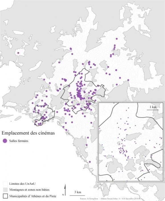 Carte 3 : Emplacement des salles de cinéma dans la région du Grand-Athènes entre 1950 et 2014