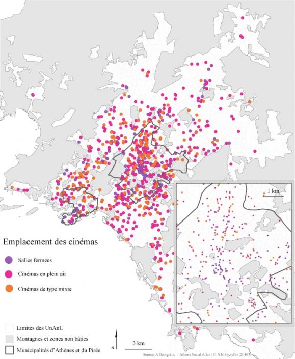Carte 1 : Emplacement des salles de cinéma, des cinémas en plein air et des cinémas de type mixte dans la région du Grand-Athènes entre 1950 et 2014