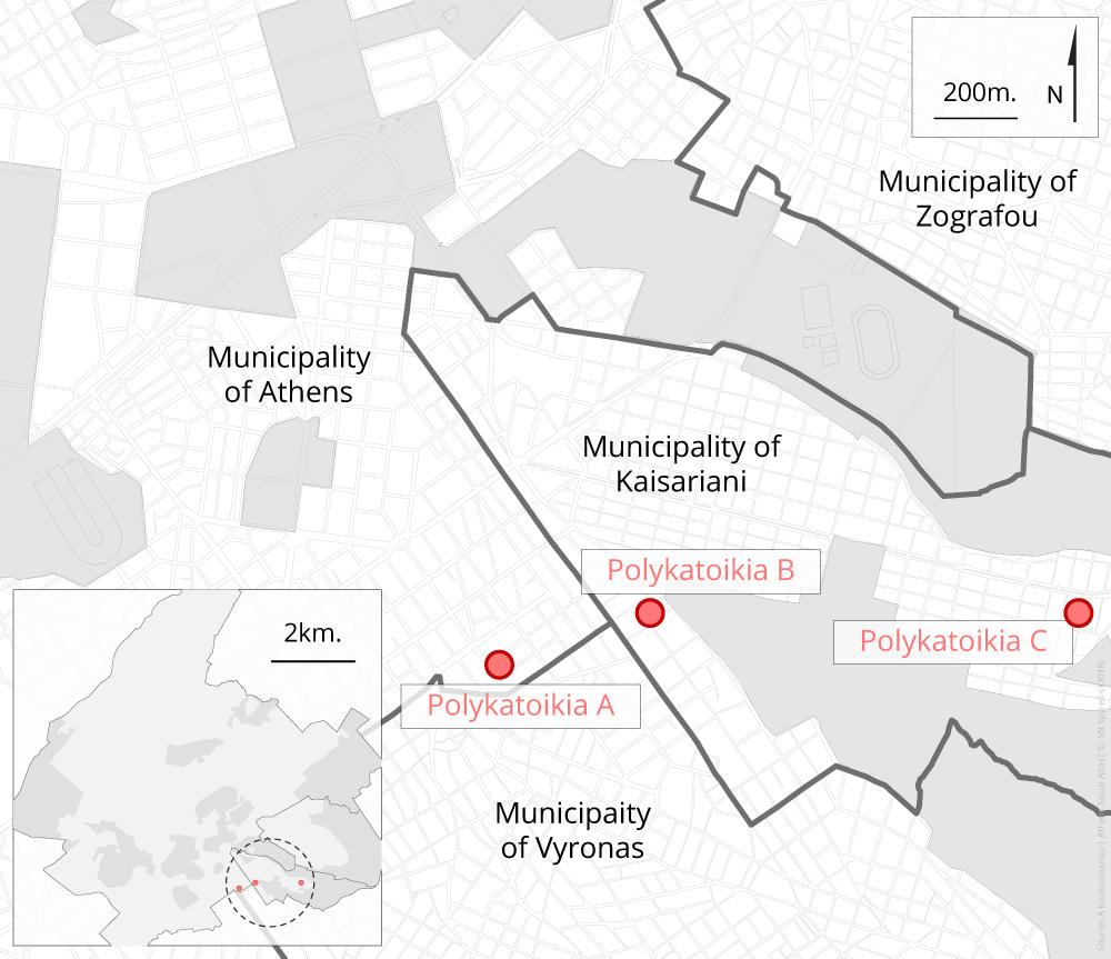 Map 1: Location of the 3 apartment blocks (polykatoikies)