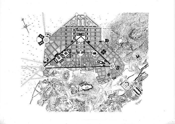 Figure 1: Le plan Kleanthis-Schaubert (1833) et ses représentations schématiques (source: schéma de l'auteur D.Karidis 2014, Fig. III. 2)