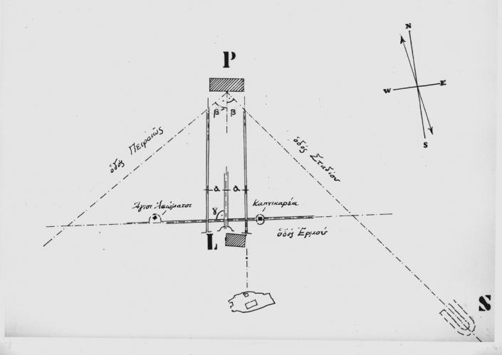 Figure 3: Les axes fondamentaux de planification dans le plan initial, 1833 (source: l'auteur)