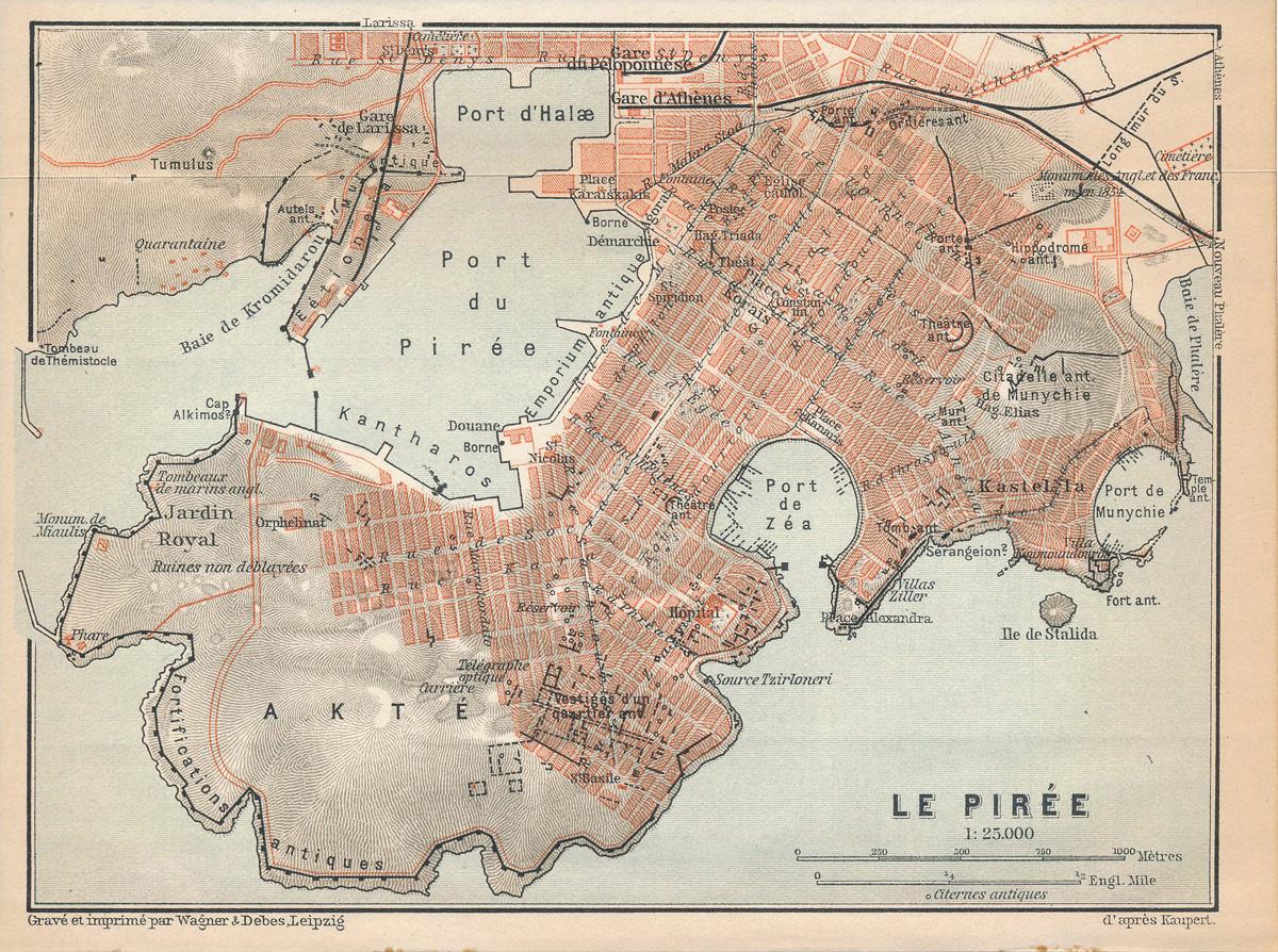 Χάρτης 1. Ο Πειραιάς στις αρχές του 20ού αιώνα. Επάνω δεξιά διακρίνουμε το αγγλο-γαλλικό μνημείο και νεκροταφείο (Monument des Anglais et des Français, Cimetière). Πηγή: Baedeker K (1909) Greece. Leipzig : Karl Baedeker Publisher (4th ed.)