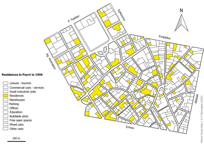 Carte 10: Habitations à Psyri en 1996. Source: fonds de carte d'ELSTAT, étude d'Attico Metro, 1996, traitement par l'auteur