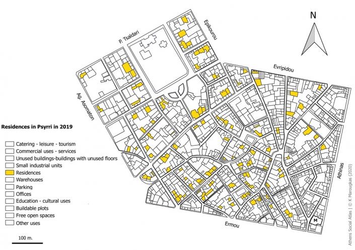 Carte 11: Habitations à Psyri en 2019. Source: fonds de carte d'ELSTAT, traitement par l'auteur