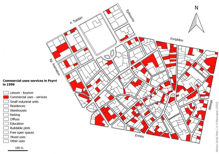 Carte 12: Usages commerciaux et de services à Psyri en 1996. Source: fonds de carte d'ELSTAT, étude d'Attico Metro, 1996, traitement par l'auteur
