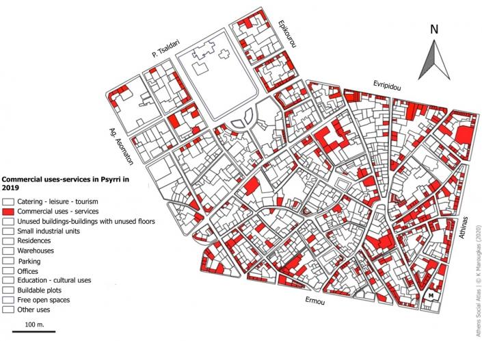 Carte 13: Usages commerciaux et de services à Psyri en 2019. Source: fonds de carte d'ELSTAT, traitement par l'auteur
