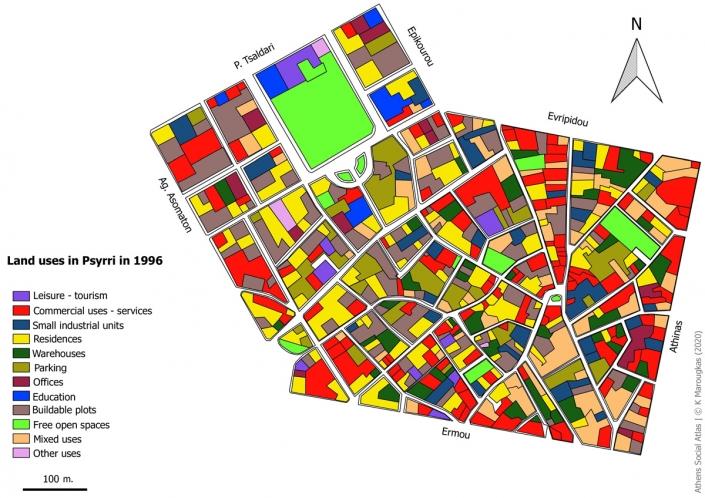 Carte 1: Usage du foncier a Psyri en 1996 Sources: fonds de carte d'ELSTAT, étude d'Attico Metro, 1996, traitement par l'auteur