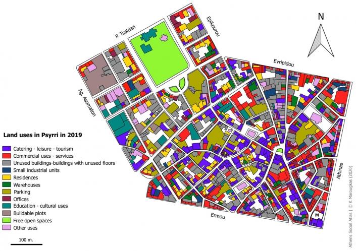 Carte 2: Usage du foncier a Psyri en 2019. Source: fonds de carte d'ELSTAT, traitement par l'auteur