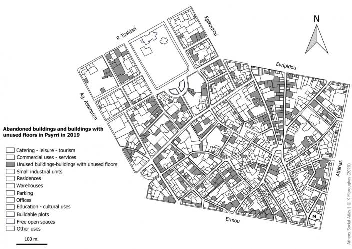 Carte 3: bâtiments, rez-de chaussée ou étages de bâtiments non habités à Psyri en 2019. Source: fonds de carte d'ELSTAT, collecte de données sur le terrain, traitement par l'auteur