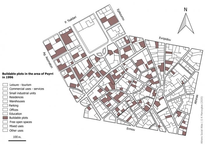 Carte 4: Terrains vagues constructibles à Psyri en 1996. Source: fonds de carte d'ELSTAT, étude d'Attico Metro, 1996, traitement par l'auteur