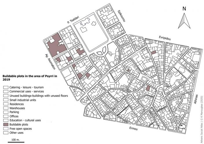 Carte 5 : Terrains vagues constructibles à Psyri en 2019. Source: fonds de carte d'ELSTAT, traitement par l'auteur