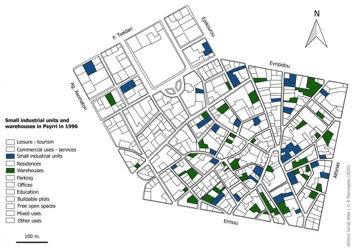 Carte 8: Artisanat et entrepôts à Psyri en 1996. Source: fonds de carte d'ELSTAT, étude d'Attico Metro, 1996, traitement par l'auteur