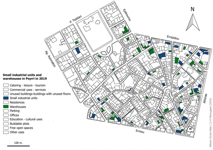 Carte 9: Artisanat et entrepôts à Psyri en 2019. Source: fonds de carte d'ELSTAT, traitement par l'auteur